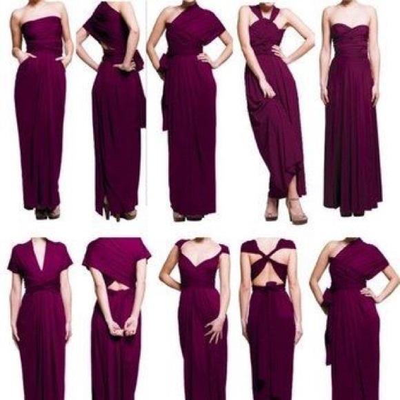 Von Vonni Dresses Transformer Eggplant Maxi Dress One Size Poshmark